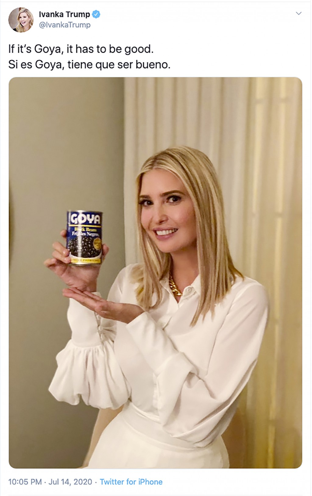 "This image taken from Ivanka Trump's Twitter account shows her holding a can of Goya beans along with the words ""If it's Goya, it has to be good"" writ..."
