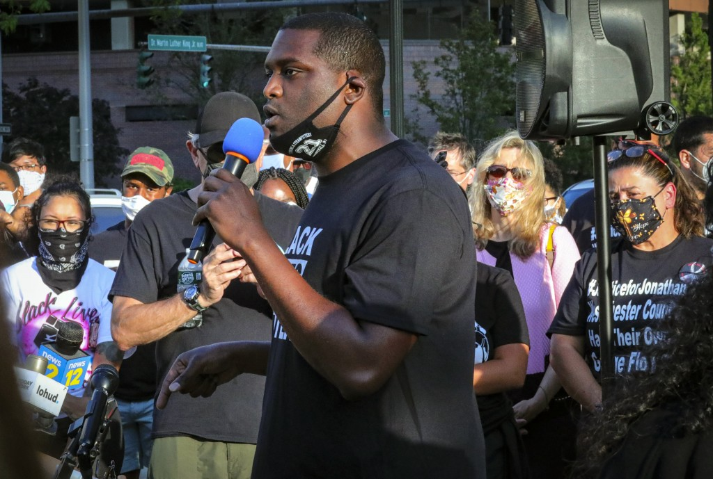 Mondaire Jones, winner of the Democratic primary for the 17th Congressional District, addresses a Black Lives Matter rally, Wednesday, July 15, 2020, ...