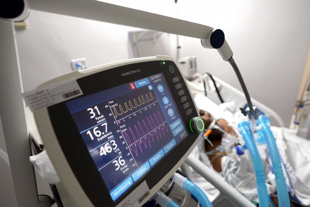 FILE - In this July 6, 2020, file photo, a ventilator helps a COVID-19 patient breath inside the Coronavirus Unit in a Houston hospital. Hospital data...