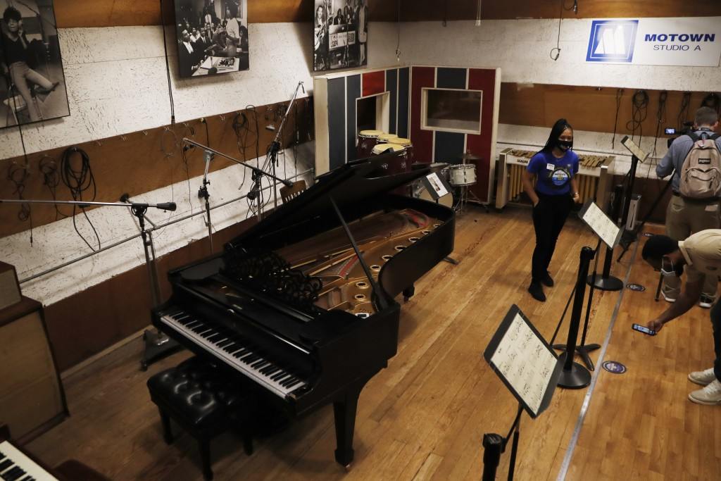 Motown Museum tour guide Jamia Henry talks about Studio A in the museum, Wednesday, July 15, 2020, in Detroit. The Detroit building where Berry Gordy ...
