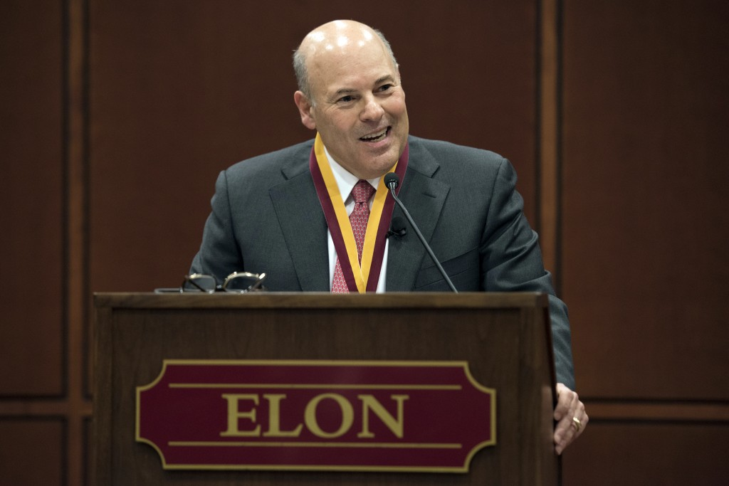 FILE - In this March 1, 2017, file photo, Elon Trustee Louis DeJoy is honored with Elon's Medal for Entrepreneurial Leadership in Elon. N.C. Mail deli...