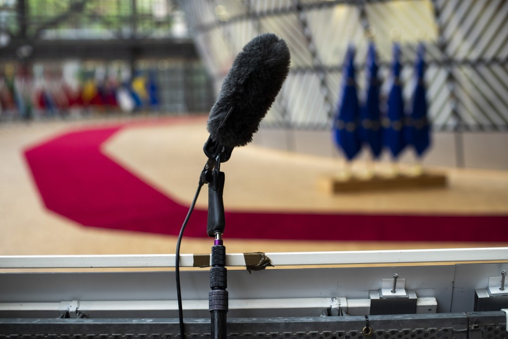 In house camera's and a microphone are set up at the arrivals area for EU leaders at the European Council building in Brussels, Thursday, July 16, 202...