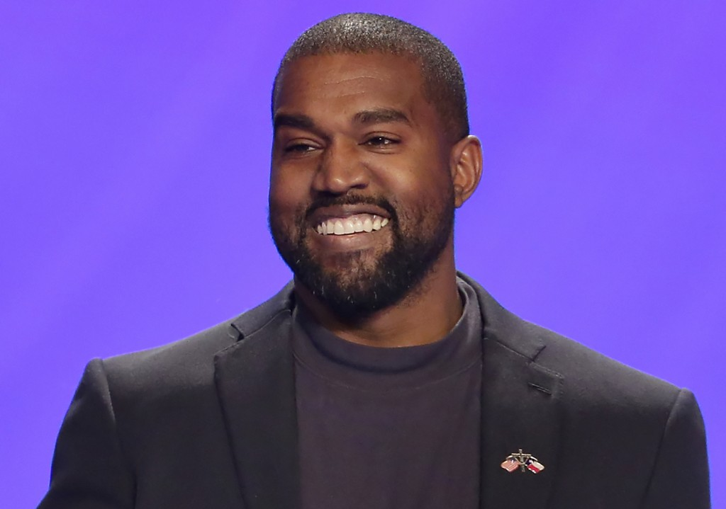 FILE - This Nov. 17, 2019, file photo shows Kanye West on stage during a service at Lakewood Church in Houston. West will be on the Oklahoma president...