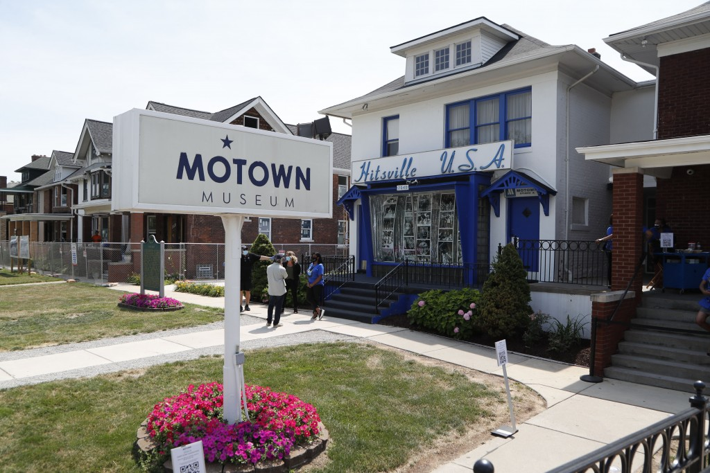 The exterior view of the Motown Museum is seen, Wednesday, July 15, 2020, in Detroit. The Detroit building where Berry Gordy Jr. built his music empir...