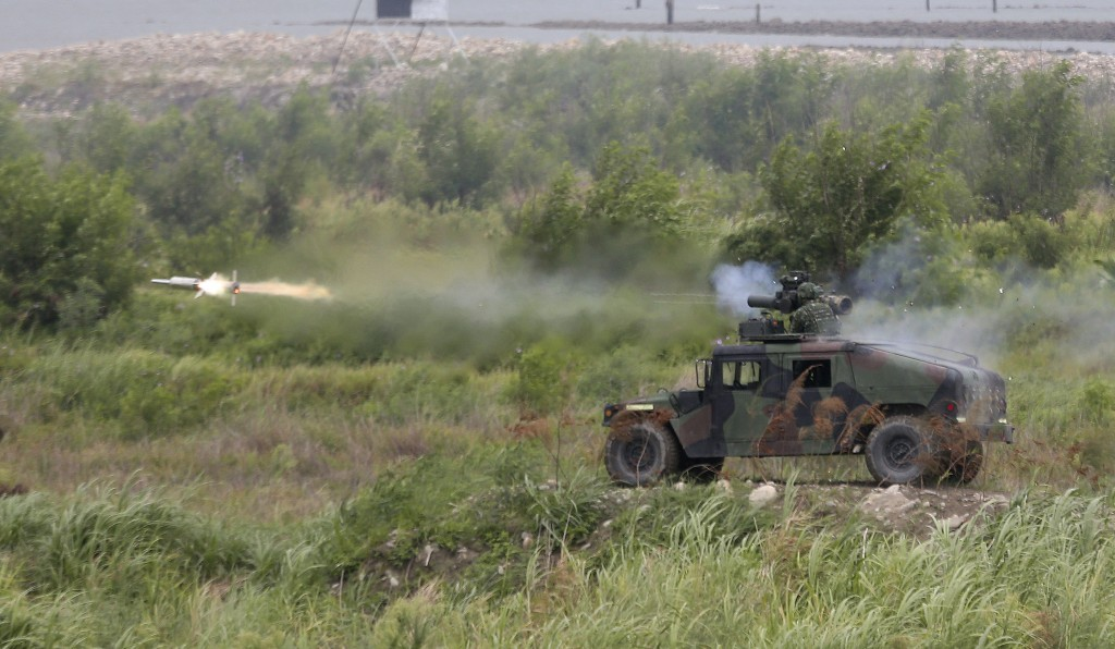 A BGM-71 anti-tank missile is fired during the 36th Han Kung military exercises in Taichung City, central Taiwan, Thursday, July 16, 2020.  Taiwan's m...
