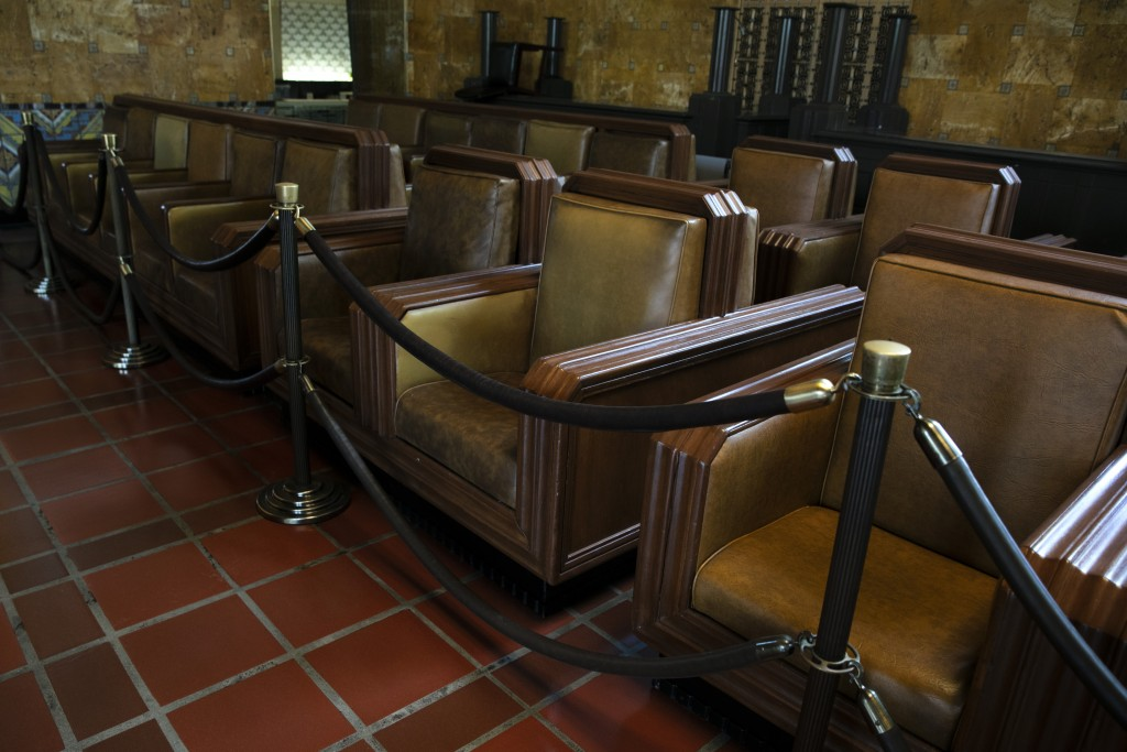 Seats are roped off in the waiting area at Union Station, Monday, July 6, 2020, in Los Angeles. (AP Photo/Jae C. Hong)
