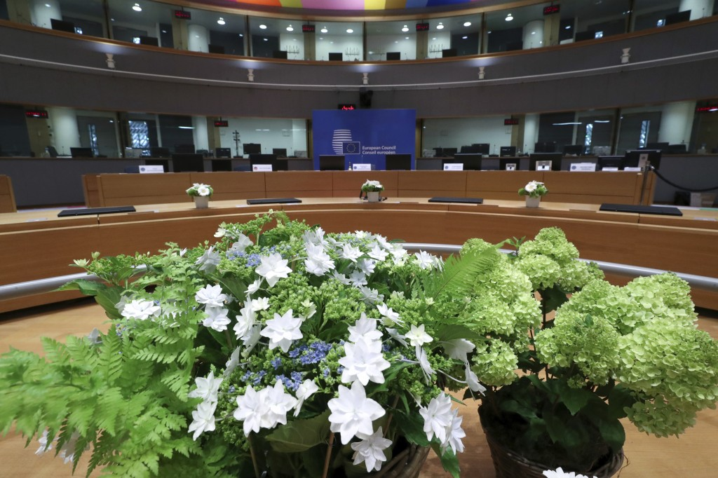 A meeting room especially adapted to adhere to physical distance guidelines for EU leaders for an upcoming EU summit at the European Council building ...