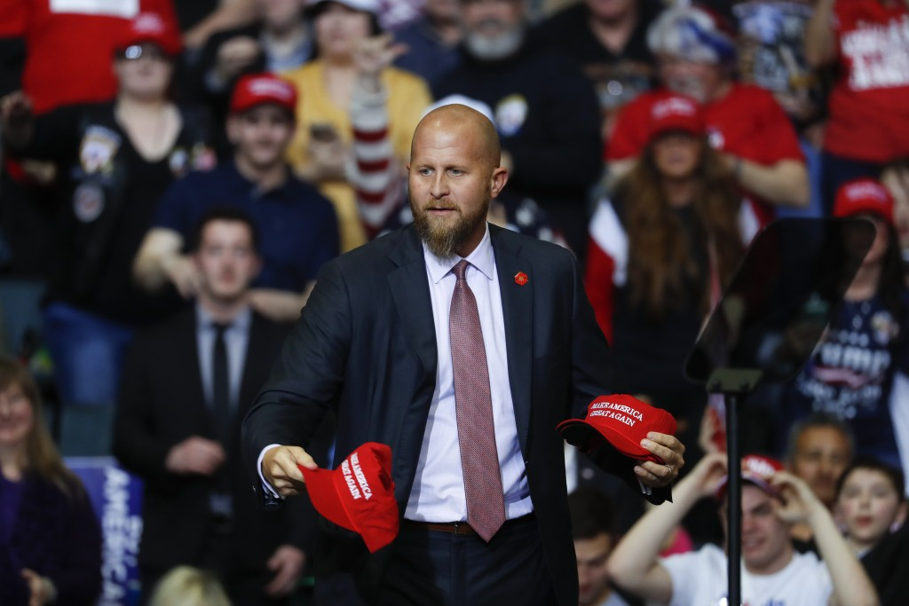 "FILE - In this Thursday, March 28, 2019, file photo, Brad Parscale, manager of President Donald Trump's reelection campaign, throws ""Make America Grea..."