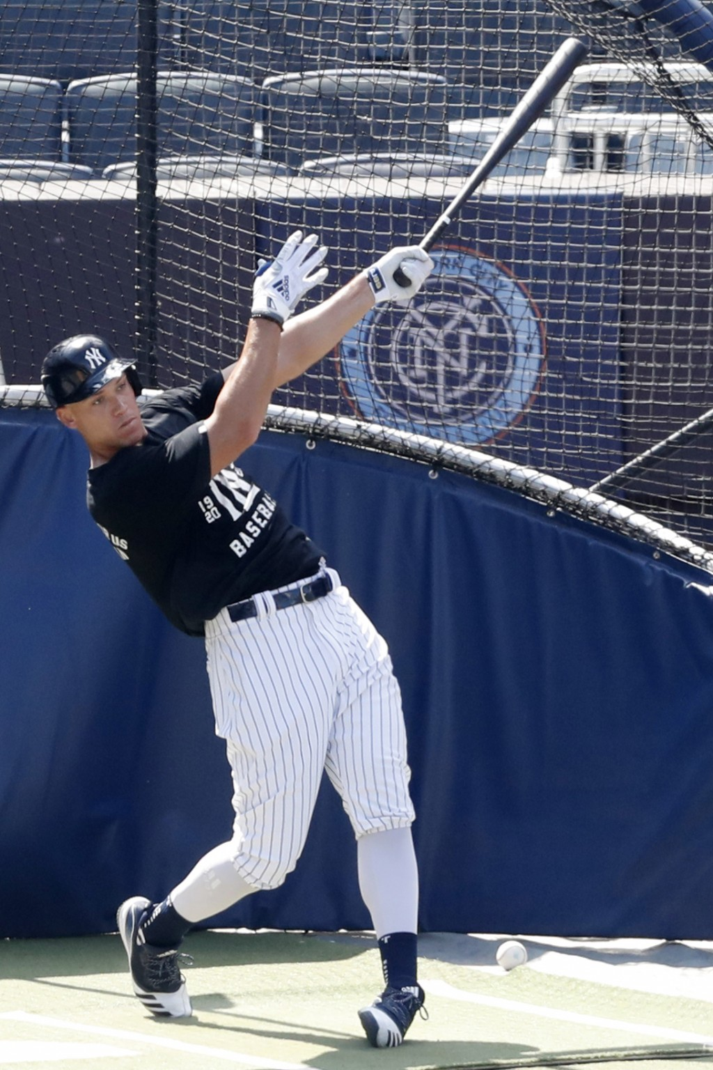 New York Yankees' Aaron Judge bats in the cage at Yankees summer baseball training camp, Wednesday, July 15, 2020, at Yankee Stadium in New York. Judg...
