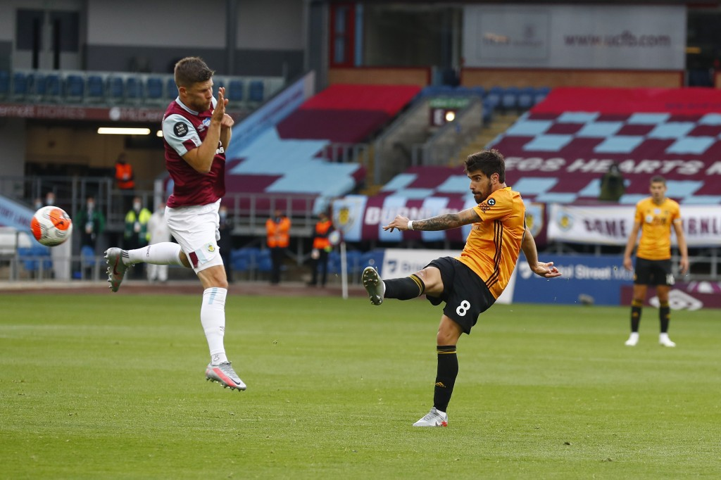 Wolverhampton Wanderers' Ruben Neves shoots at goal during the English Premier League soccer match between Burnley and Wolverhampton Wanderers at the ...