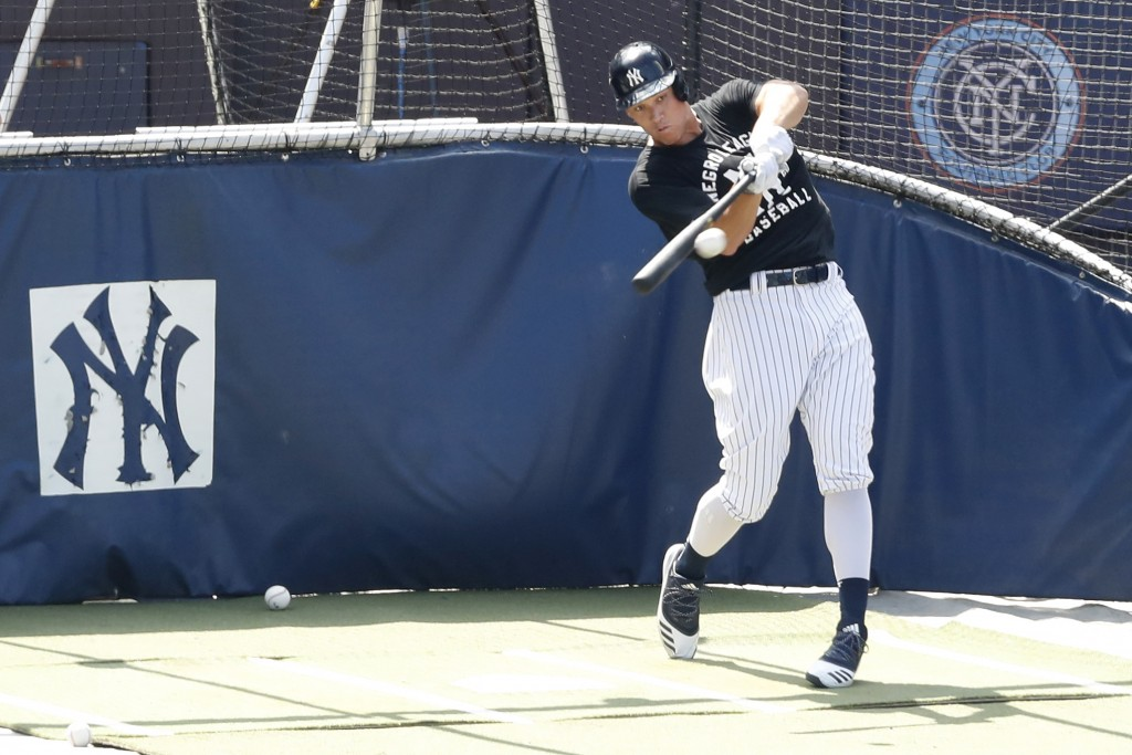 New York Yankees Aaron Judge bats in the cage at Yankees summer baseball training camp, Wednesday, July 15, 2020, at Yankee Stadium in New York. Judge...