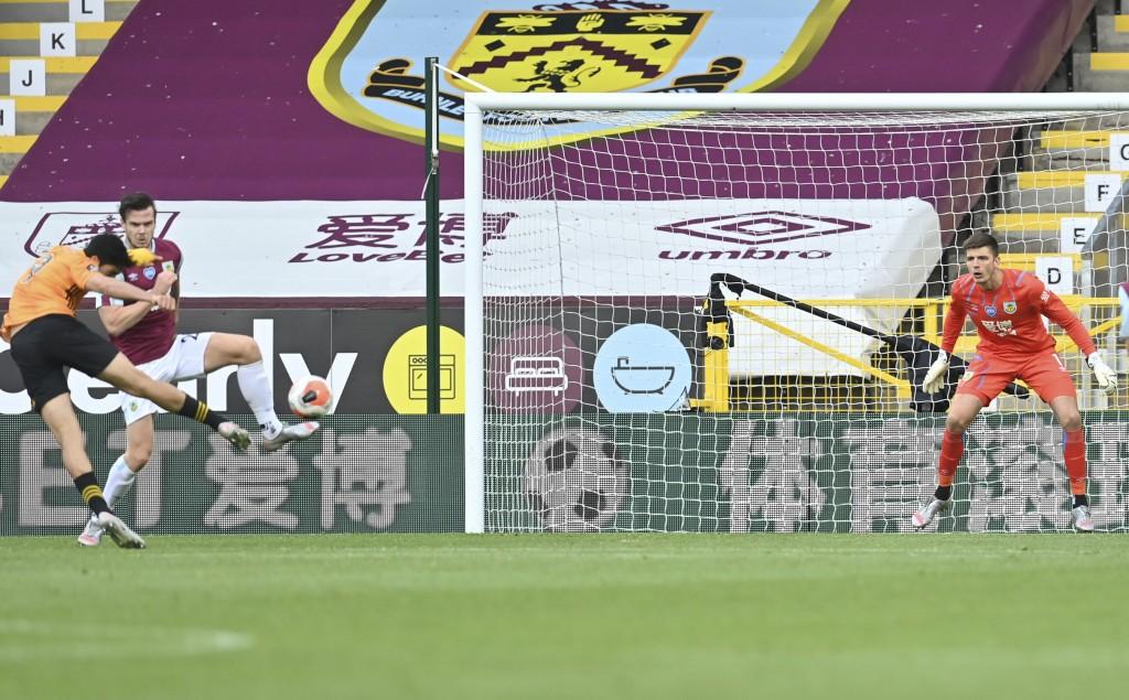Wolverhampton Wanderers' Raul Jimenez scores a goal during the English Premier League soccer match between Burnley and Wolverhampton Wanderers at the ...