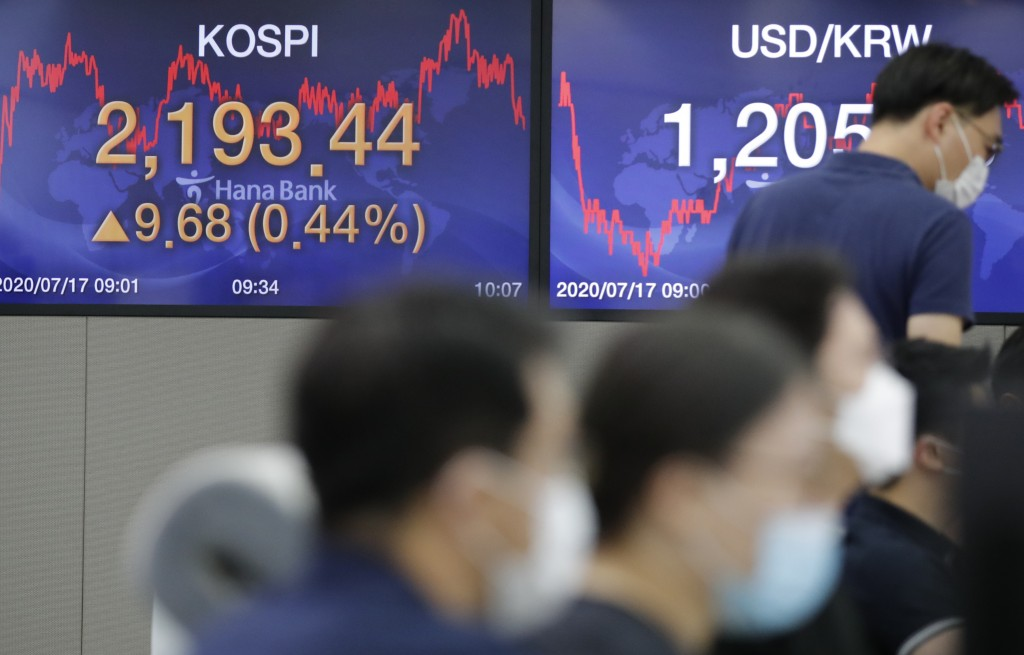 Currency traders wearing face masks work near the screens showing the Korea Composite Stock Price Index (KOSPI), left, and the foreign exchange rate b...