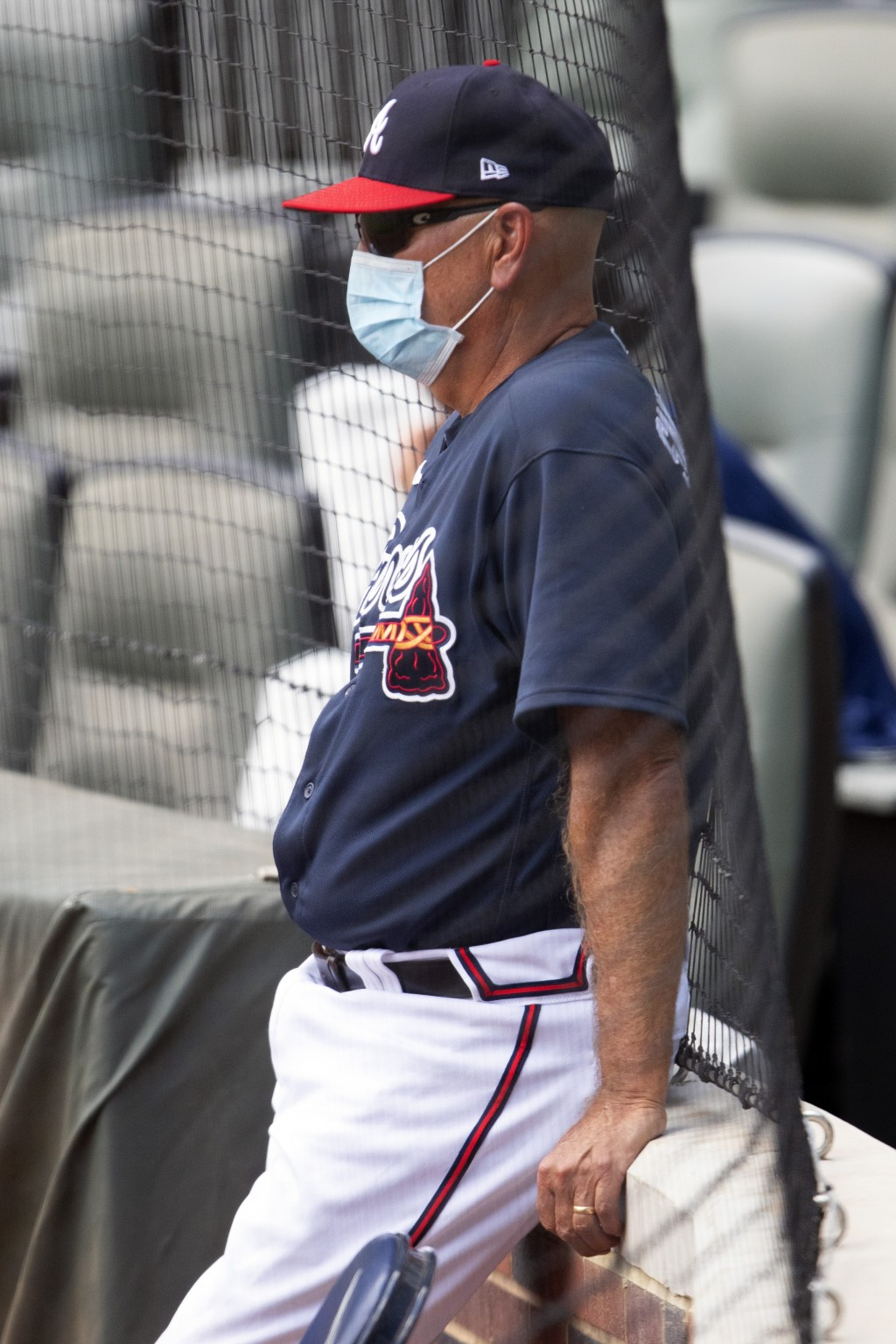 Atlanta Braves manager Brian Snitker watches during an intrasquad baseball game Thursday, July 16, 2020, in Atlanta. (AP Photo/John Bazemore)