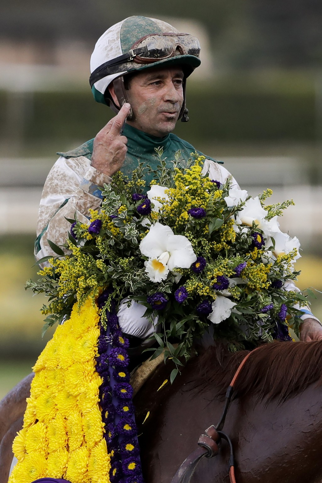 FILE - In this Nov. 2, 2019, file photo, Joe Bravo aboard Blue Prize celebrates after winning the Breeders' Cup Distaff horse race at Santa Anita Park...