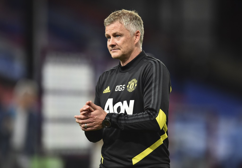 Manchester United's manager Ole Gunnar Solskjaer leaves the pitch at the end of the English Premier League soccer match between Crystal Palace and Man...