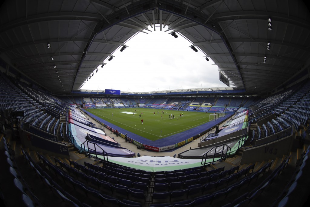 In a photo taken with a wide-angle lens, a general view of empty stands before the English Premier League soccer match between Leicester City and Shef...