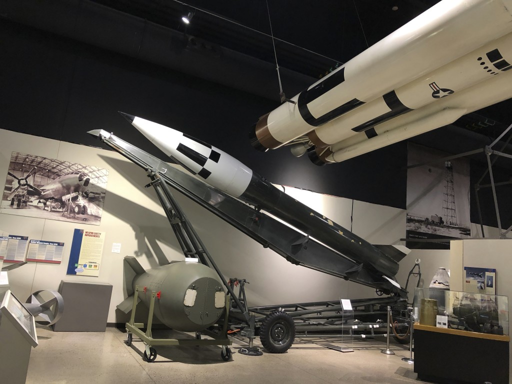 """An """"Honest John"""" surface-to-surface rocket, on display Wednesday, July 15 2020, at the National Museum of Nuclear Science and History in Albuquerque, ..."""