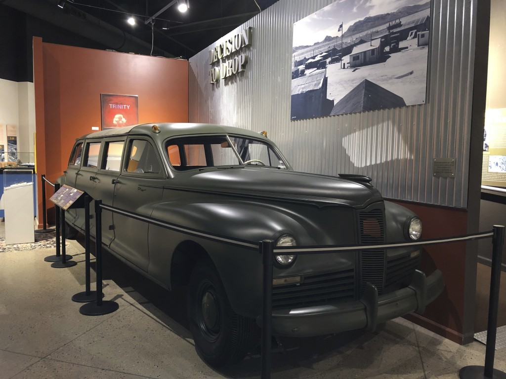 A 1942 Packard limo that was used to ferry Manhattan Project scientists, is on display Wednesday, July 15, 2020, at the National Museum of Nuclear Sci...