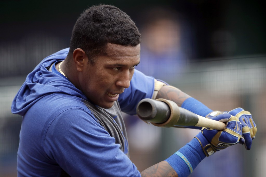 Kansas City Royals' Salvador Perez gets ready to bat during baseball practice at Kauffman Stadium, Thursday, July 16, 2020, in Kansas City, Mo. (AP Ph...