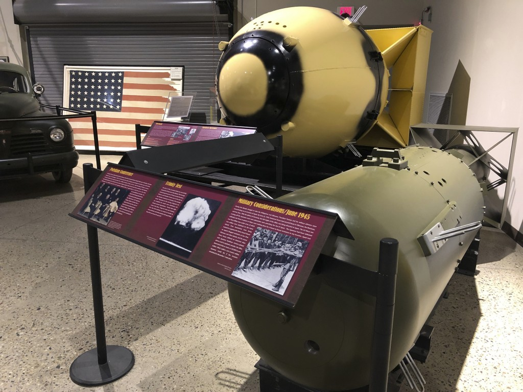 """Casings identical to those used for the """"Fat Man"""" and """"Little Boy"""" atomic bombs are displayed Wednesday, July 15, 2020, at the National Museum of Nucl..."""