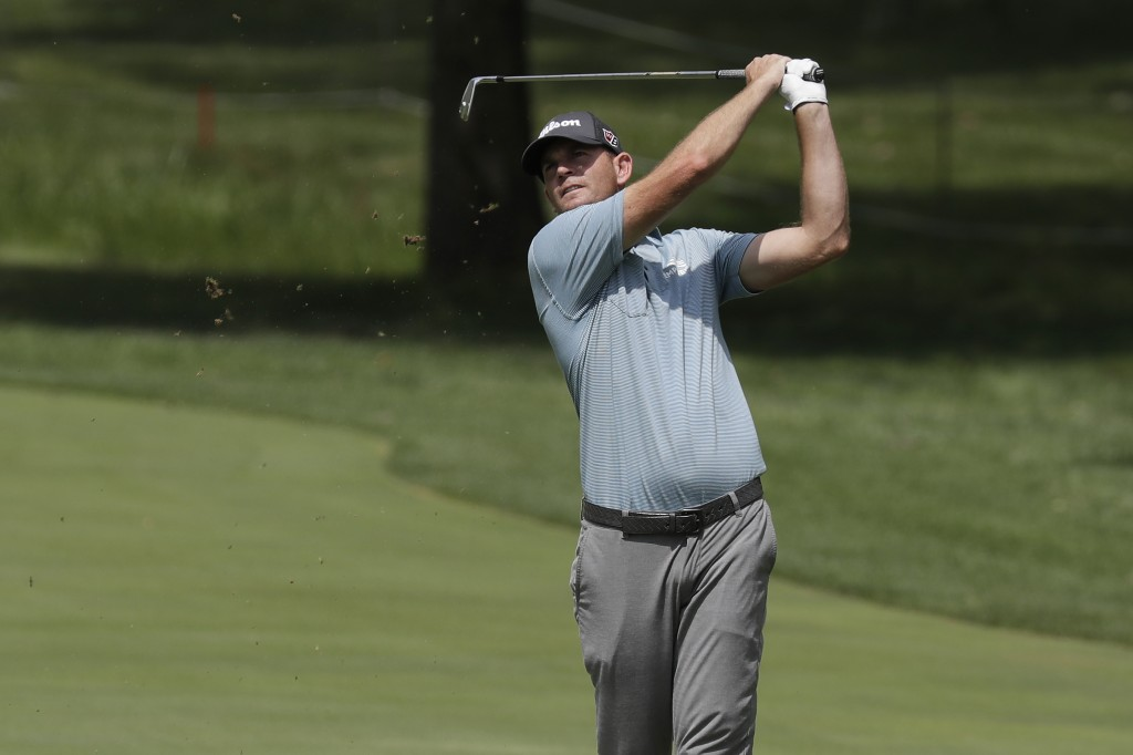 Brendan Steele hits from the 18th fairway during the first round of the Memorial golf tournament, Thursday, July 16, 2020, in Dublin, Ohio. (AP Photo/...