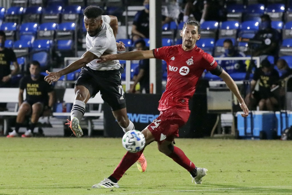 Montreal Impact's Anthony Jackson-Hamel, left, shoots at goals as Toronto FC defender Omar Gonzalez (44) defends during the second half of an MLS socc...