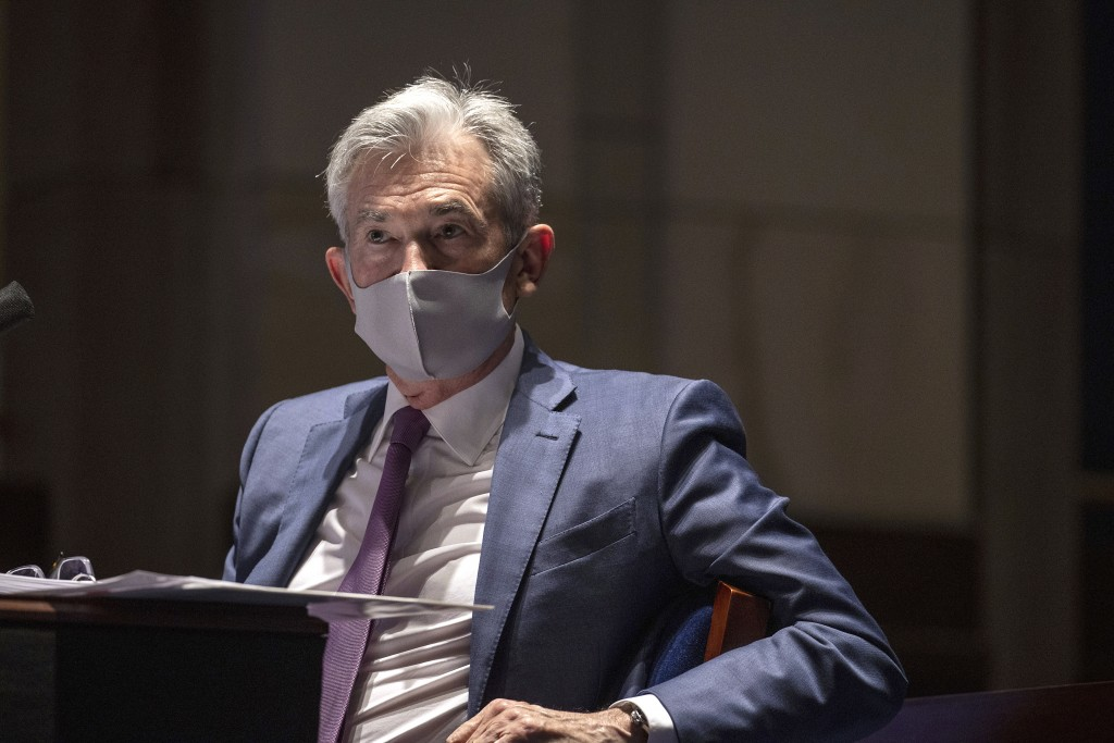 FILE - In this June 30, 2020 file photo, Federal Reserve Chair Jerome Powell testifies during a House Financial Services Committee hearing on the coro...