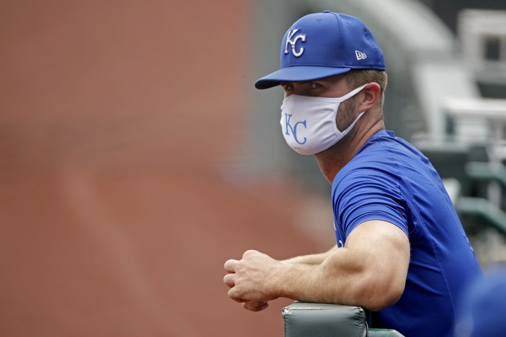 Kansas City Royals Bubba Starling watches from the dugout during baseball practice at Kauffman Stadium, Thursday, July 16, 2020, in Kansas City, Mo. (...