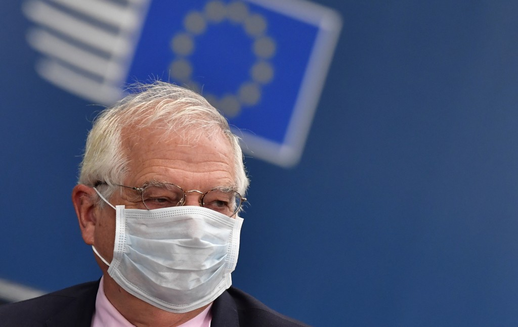 European Union foreign policy chief Josep Borrell arrives for an EU summit at the European Council building in Brussels, Friday, July 17, 2020. Leader...
