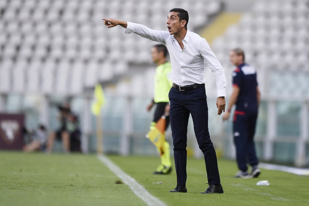 Torino coach Moreno Longo gives instructions during the Serie A soccer match between Torino and Genoa, at the Olympic Stadium in Turin, Italy, Thursda...