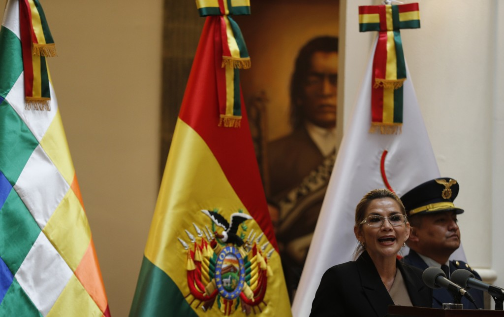 FILE - In this Jan. 20, 2020 file photo, Bolivia's interim President Jeanine Anez speaks during a swearing-in ceremony for cabinet ministers at the pr...