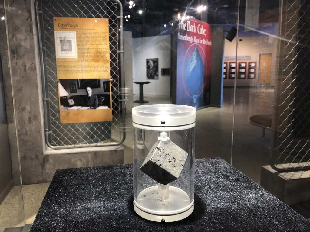 """A cube of uranium is displayed Wednesday, July 15, 2020, at the National Museum of Nuclear Science and History in Albuquerque, N.M. The """"Dark Cube"""" wa..."""