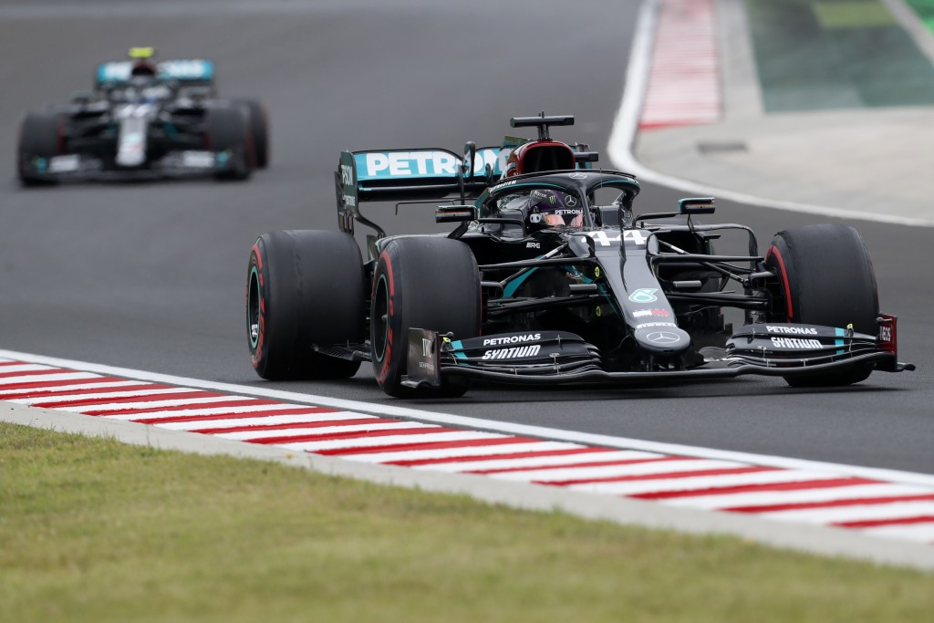 Mercedes driver Lewis Hamilton of Britain steers his car during the first practice session for the Hungarian Formula One Grand Prix at the Hungaroring...