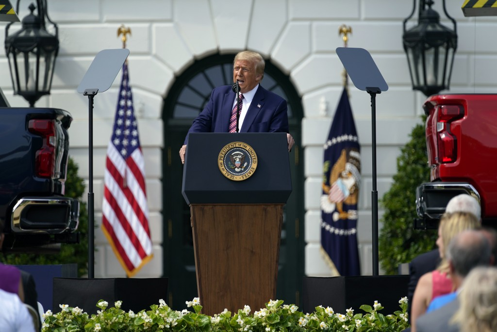 President Donald Trump speaks during an event on regulatory reform on the South Lawn of the White House, Thursday, July 16, 2020, in Washington. (AP P...
