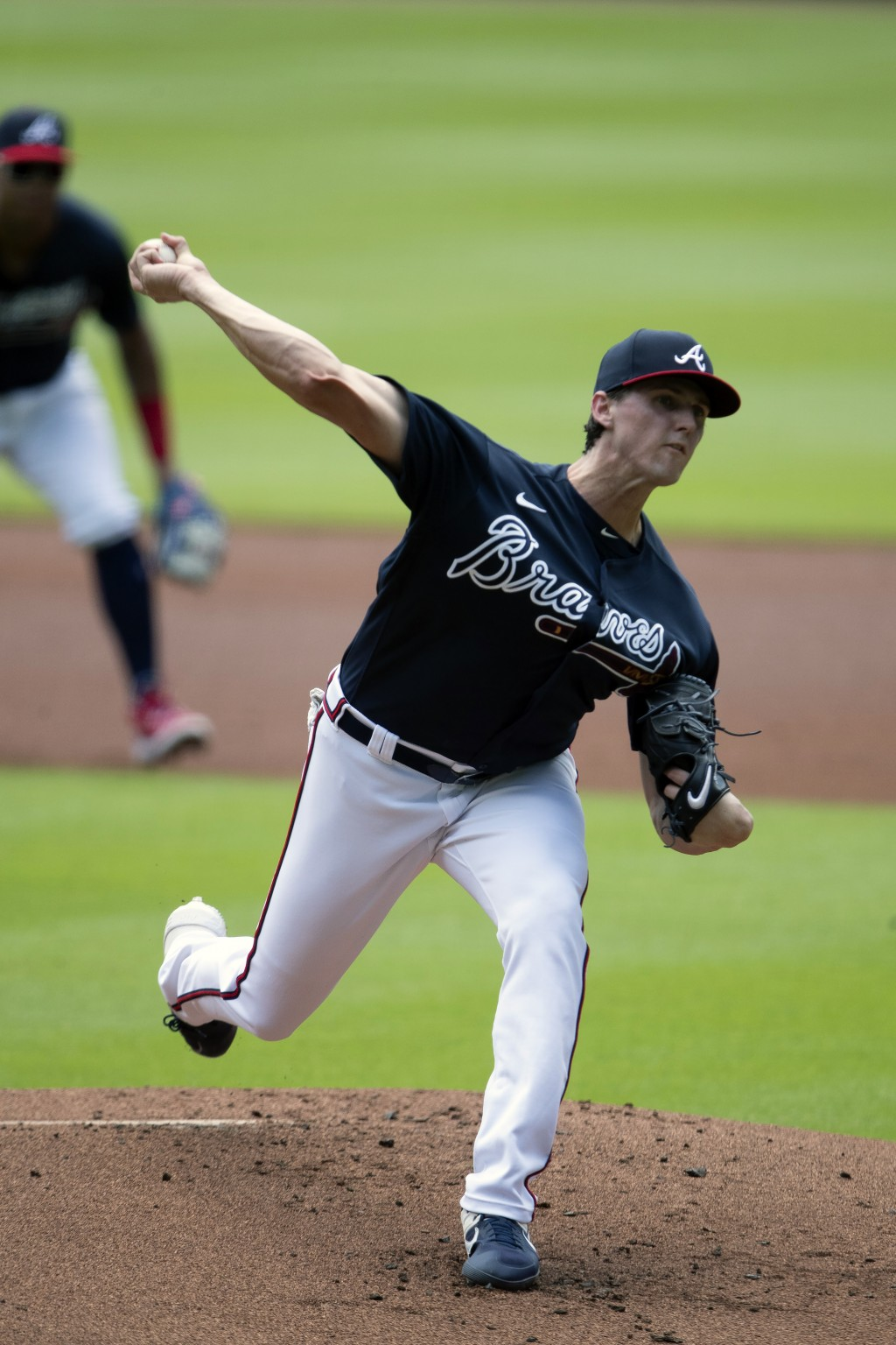 Atlanta Braves starting pitcher Kyle Wright (30) delivers during an intra squad baseball game Thursday, July 16, 2020, in Atlanta. (AP Photo/John Baze...
