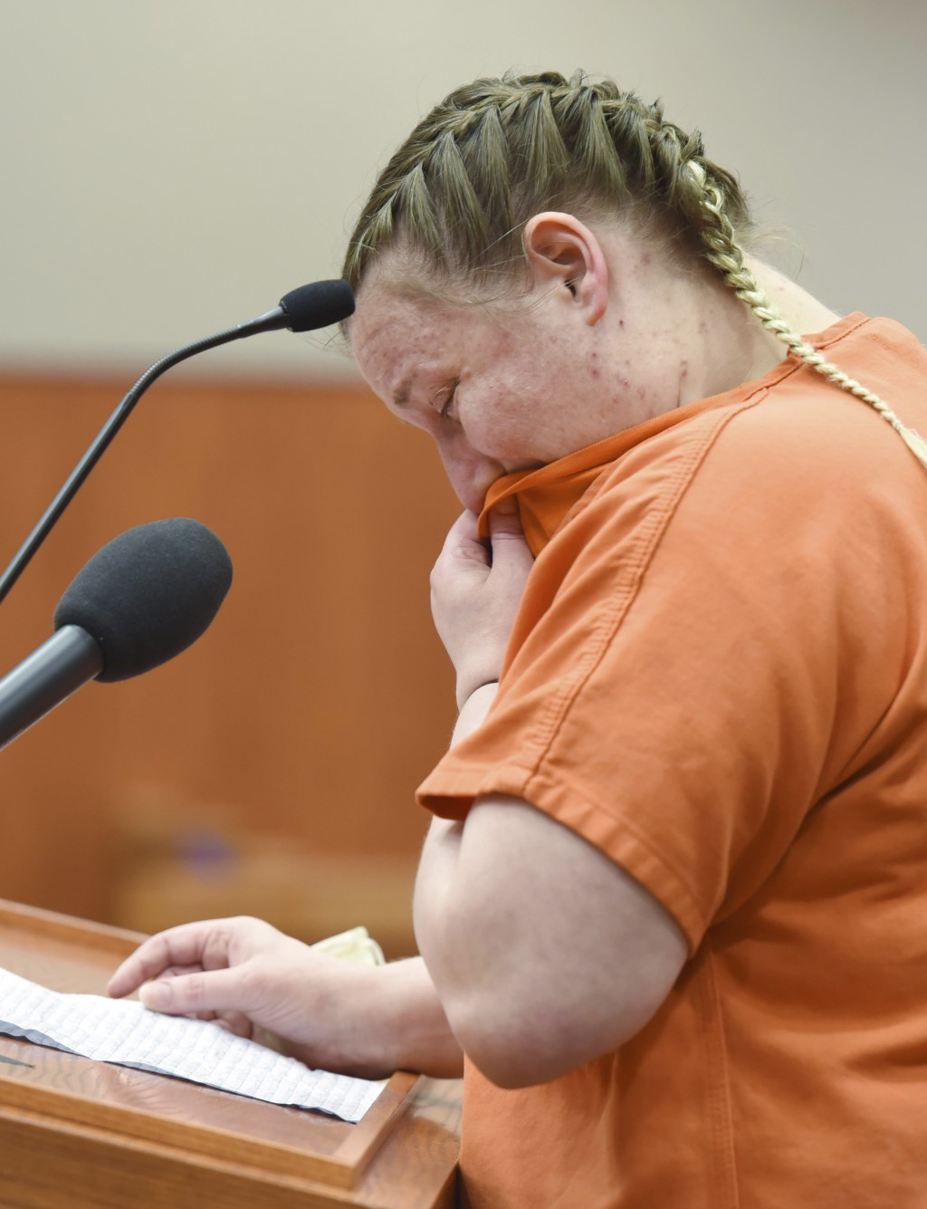 JoAnn Cunningham cries as she reads a statement during a sentencing hearing in Woodstock, Ill., Thursday, July 16, 2020. Cunningham pleaded guilty in ...
