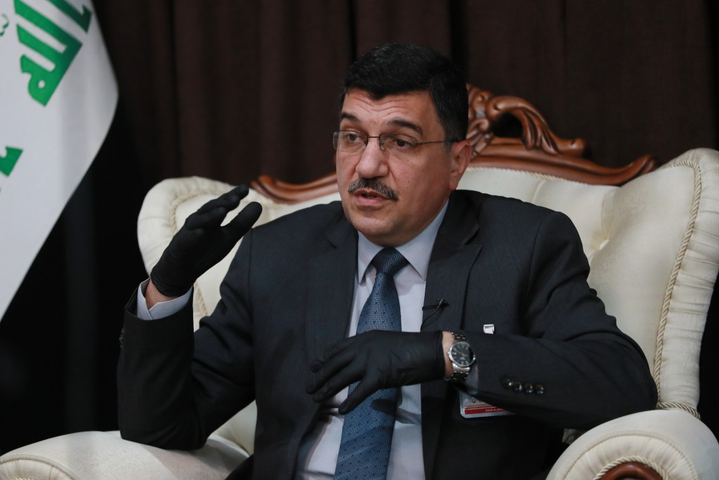 Iraq's Water Resources Minister Mahdi Rashid Al-Hamdani speaks during an interview in Baghdad, Iraq on Thursday, July 16, 2020. Al-Hamdani says severe...