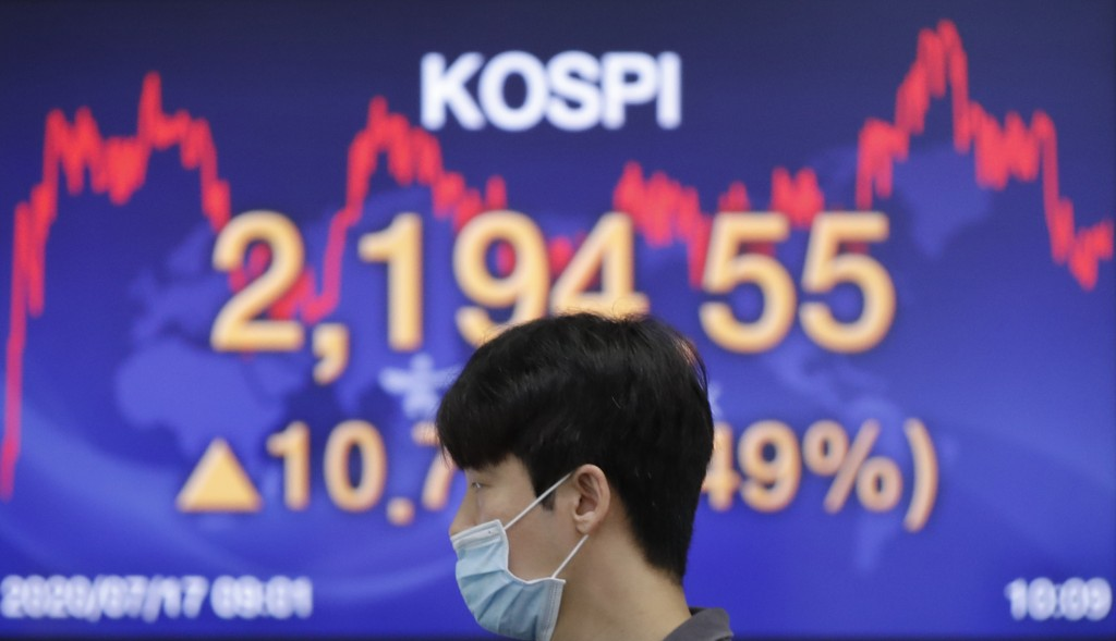 A currency trader wearing a face mask walks by the screen showing the Korea Composite Stock Price Index (KOSPI) at the foreign exchange dealing room i...