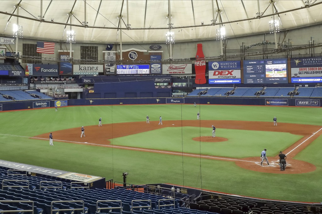 The Tampa Bay Rays use a two outfielder, five infielder defense during a team baseball scrimmage Thursday, July 16, 2020, in St. Petersburg, Fla. (AP ...
