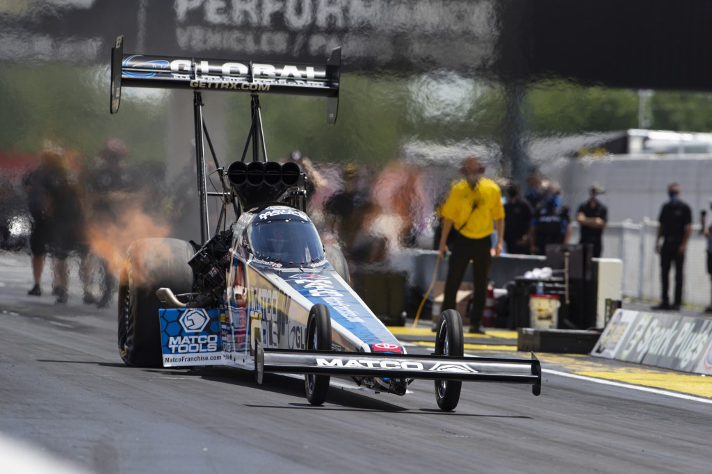 Antron Brown makes a practice run in Top Fuel for the NHRA drag racing event in Brownsburg, Ind., Friday, July 10, 2020. The NHRA returned to action l...
