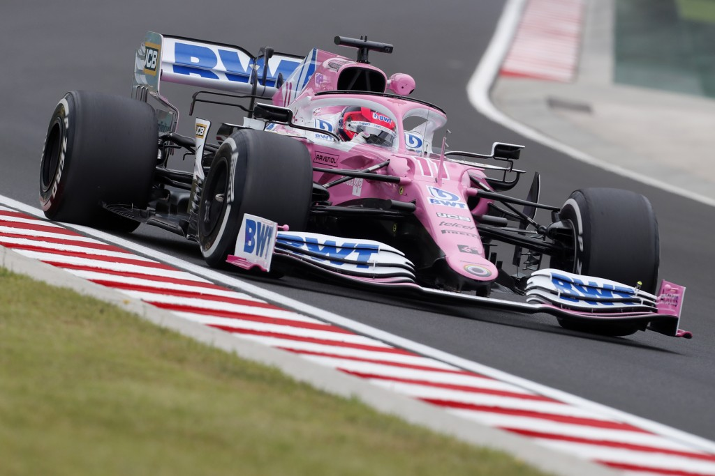 Racing Point driver Sergio Perez of Mexico steers his cars during the first practice session for the Hungarian Formula One Grand Prix at the Hungarori...