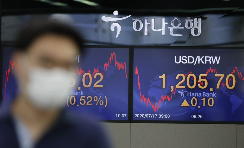 A currency trader wearing a face mask walks by the screens showing the foreign exchange rate between U.S. dollar and South Korean won at the foreign e...