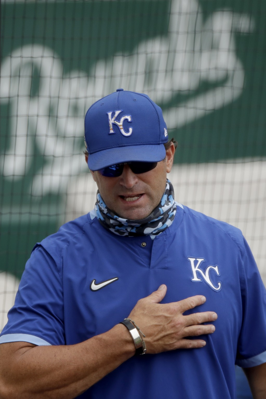 Kansas City Royals manager MIke Matheny talks to players during baseball practice at Kauffman Stadium, Thursday, July 16, 2020, in Kansas City, Mo. (A...