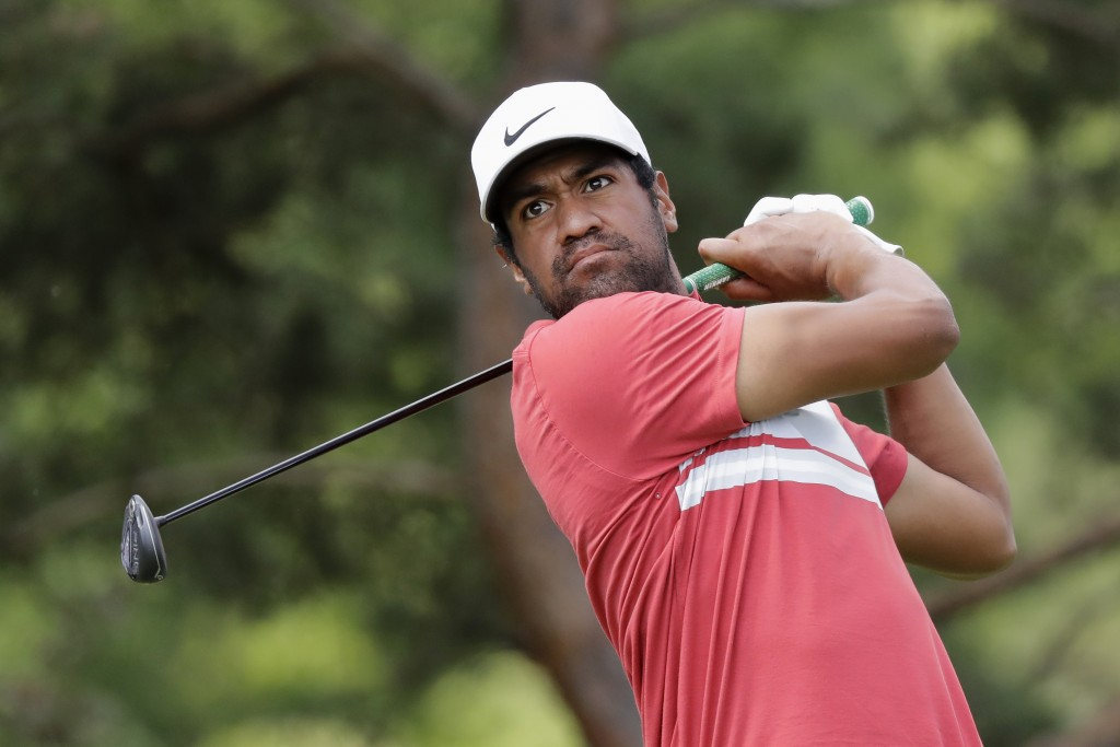 Tony Finau hits from the second tee during the second round of the Memorial golf tournament, Friday, July 17, 2020, in Dublin, Ohio. (AP Photo/Darron ...