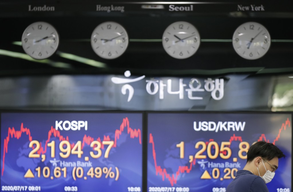 A currency trader wearing a face mask watches computer monitors near the screens showing the Korea Composite Stock Price Index (KOSPI), left, and the ...