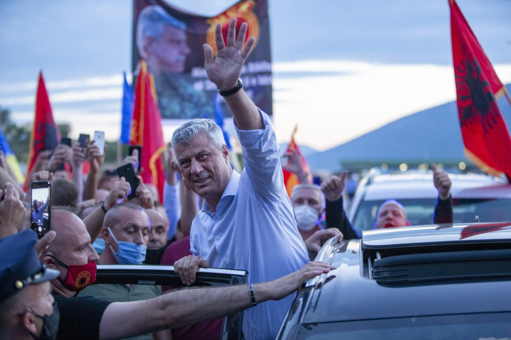 Kosovo President Hashim Thaci greets former members of the so-called Kosovo Liberation army, which fought for independence from Serbia, and other supp...
