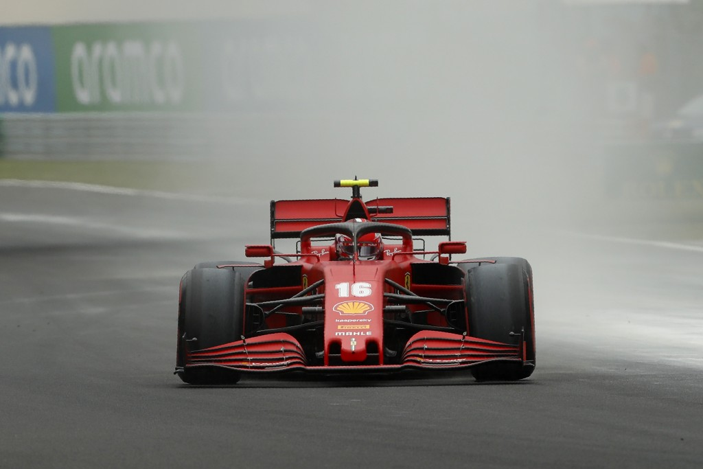 Ferrari driver Charles Leclerc of Monaco steers his car during the third practice session for the Hungarian Formula One Grand Prix at the Hungaroring ...