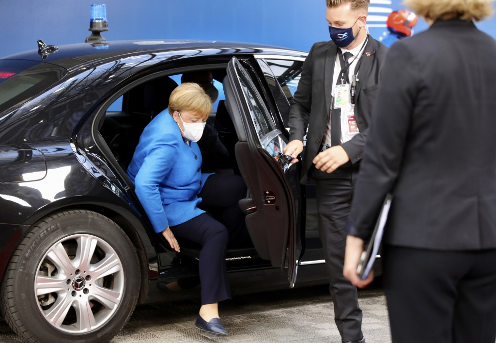 German Chancellor Angela Merkel arrives for an EU summit at the European Council building in Brussels, Saturday, July 18, 2020. Leaders from 27 Europe...