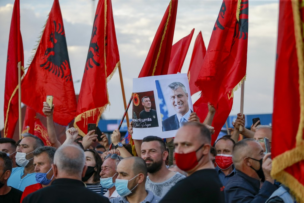 Hundreds of former members of the so-called Kosovo Liberation army, which fought for independence from Serbia, and other supporters gather to await Pr...